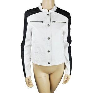 White Black Motorcycle Faux Leather Jacket